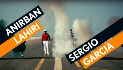 Sergio Garcia và Anirban Lahiriin thử tài phát bóng 600m ở Skydive Dubai
