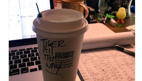 Khi nhân viên Starbuck là fan của Tiger, Chamblee nhận được dòng chữ này khi lấy đồ uống